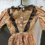 Antique Handmade Peach Floral Doll Gown~For Bisque,19th C.