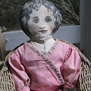 "Miss Malto-Rice Printed 21"" Antique Cloth Doll~Calico Dress"