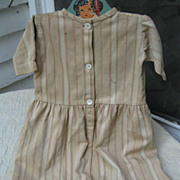 Early Child's Primitive Brown Ticking Dress