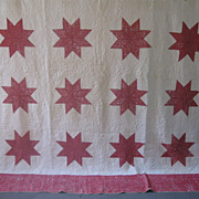Huge c1850's Turkey Red Star Quilt, Worn Foulard Print