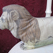 Early Litho Printed Cloth Stuffed Lion c1900