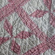 Sweetheart- Double-Pink Calico Pinwheels Antique CRIB Quilt-PA