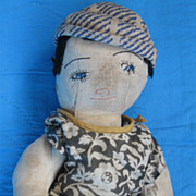 "Vintage c30's Handmade Cloth 11.5"" Jointed Baby Doll, Original Outfit"