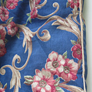 Fab Vintage Blue Floral c30's Cover/Fabric, Excellent
