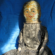"Antique Oil Painted Cloth 13"" Doll, Original Calico Dress"