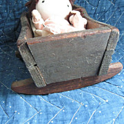 Early, Small Doll Cradle, Original Grey Paint, Square Nails
