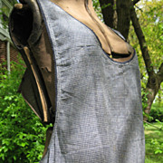 Early,  Navy Blue Homespun Plaid Full Apron, PA