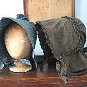 Early Black Calico Bonnet c19th C. from PA