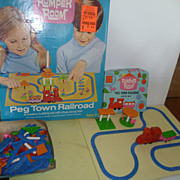 AT AUCTION Vintage 1970 Romper Room Pegboard Railroad with Extra Box Pieces Large Set