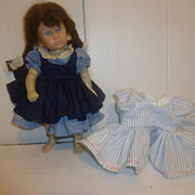 "9"" Hard Plastic Margaret O'Brien Doll by Rothchilds 1988 With Extra Dress"