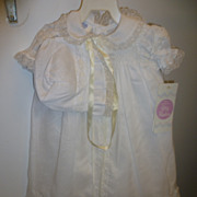 SOLD Vintage 1960s Polly Flinders Baby Doll Christening Gown and Bonnet Mint With Tags!