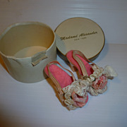 SOLD Madame Alexander Vintage Pink Flower Cissy Doll Shoes In Original Box