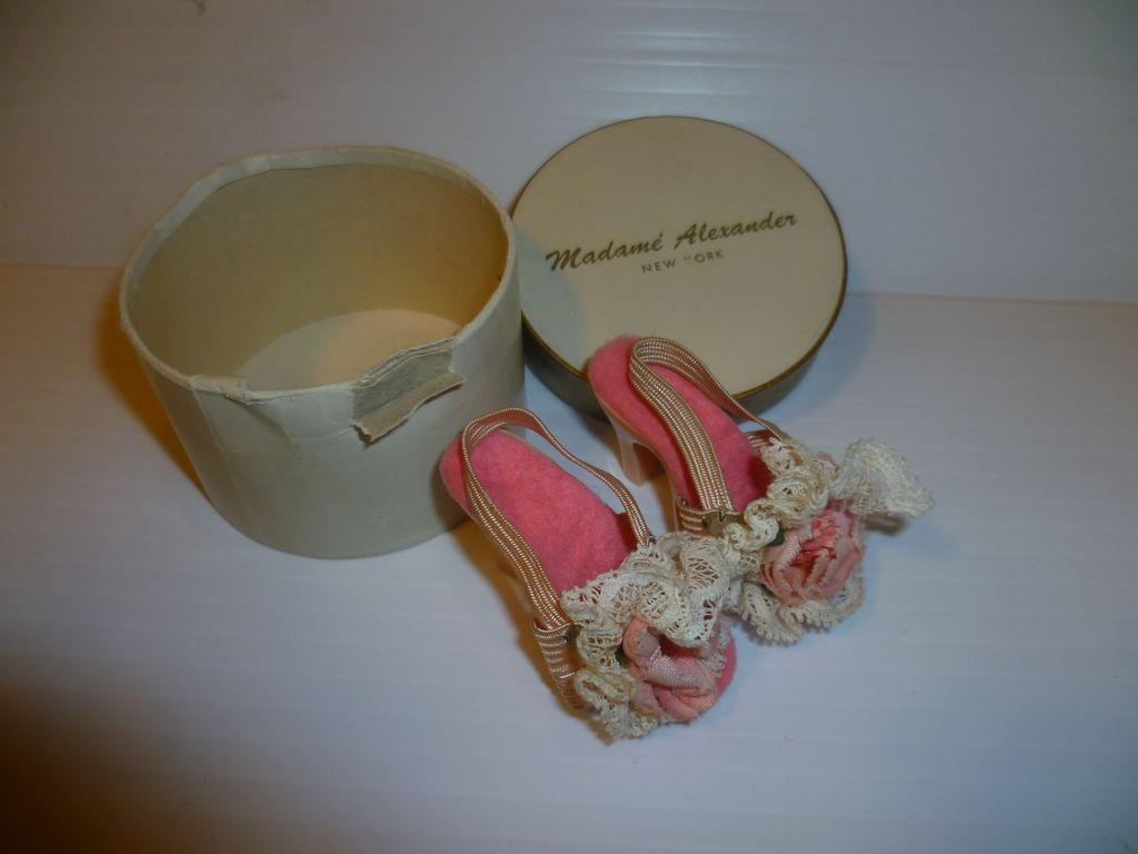 Madame Alexander Vintage Pink Flower Cissy Doll Shoes In Original Box