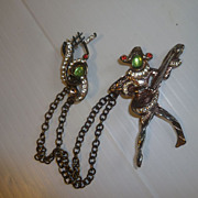 SOLD Double Pin Harlequin and G Clef Vintage Rhinestones Urie Mandle Style