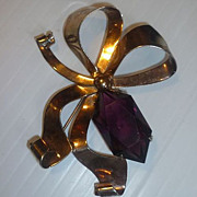 Vintage Sterling  Ribbon Jewelry Pin With Purple Stone