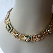 Salvador Teran Necklace Aztec Square Style 1950's Mexican Marbel