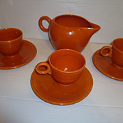 Vintage Fiesta Radioactive Red Orange Jug Cups and Plates