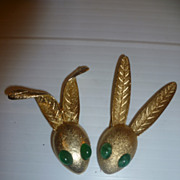 SOLD Pair of DiNicola Vintage Rabbit Bunny Pins Jewelry