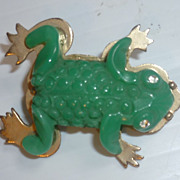SALE French Bakelite Frog Pin 1950's Figural Early Plastic Jewelry