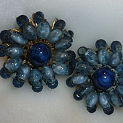 Miriam Haskell Vintage Clip Blue Flower Earrings