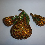Vintage Forbidden Fruit Austria Jewelry Pear Pin and Earrings