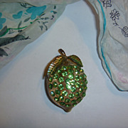 Vintage Forbidden Fruit Austrian Lime Pin Jewelry