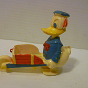 Vintage Donald Duck Plastic Wheelbarrow Walker Toy Disney