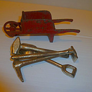 Vintage Kilgore or Arcade Red Cast Iron Metal Wheelbarrow and Tools Miniature