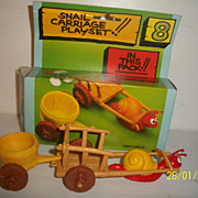 Peyo Smurf 1970s Snail Cart Playset Mint In Box