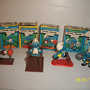 Vintage Super Smurf Group Weight Lifting Gymnast More Mint in Box 1970s