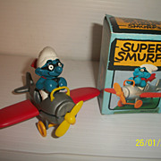 Vintage Peyo Super Smurf Air Plane Pilot in Original Box Airplane
