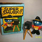 Vintage Peyo Smurf Photographer Super Smurf MIB Boxed