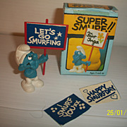 Boxed 1970's Peyo Vintage Super Smurf With Birthday Signs Excellent Condition