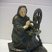 J Ruhl Hirsch Metal Statue Bookends Old Spinning Woman c1930
