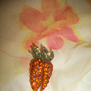 Austrian Forbidden Fruit Carrots Rare Vegetable Pin Orange Rhinestones Lucite
