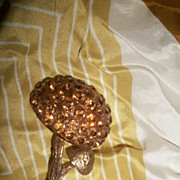 Rare Austrian Forbidden Fruit Mushroom Pin Brown Rhinestone