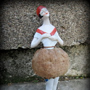 German Bisque Half Doll Pin Cushion Hertwig Flapper