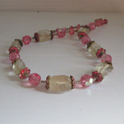 Pink and Clear Vendome Necklace Designer Rhinestone