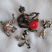 Lot Vintage Blackamoor Pins 1940 Swami Sultan Elephant Genie Aladdin Bakelite and More
