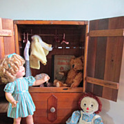 "Vintage Huge 27"" Doll Armoire Chest Trunk with Hangers Fabulous Display Circa 1950's"