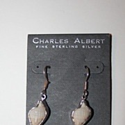 Beautiful Signed Charles Albert Sterling Seashell Earrings Vintage New on Card