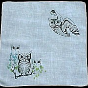 Wilcke Signed Owls on Blue Handkerchief Hanky