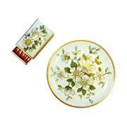 Beautiful Dogwood White Flower Ashtray and Matchbox Cover Set