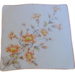 1950�s Cotton Orange Trumpet Flowered Handkerchief