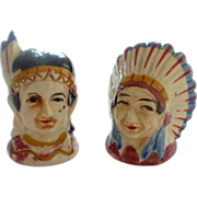 American Indian Chief and Wife Salt and Pepper Shakers