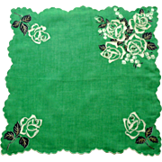 Bright Green White Roses Scalloped Edge Handkerchief