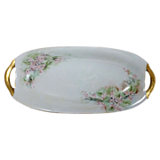 Sweet Pink Hand Painted Flowers Celery Oval Dish