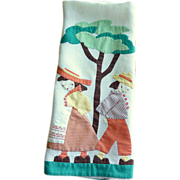 Vintage Boy and Girl Appliqu�d Large Hand Towel