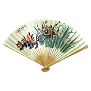 China Airlines Folding Hand Fan Circa 1980�s � Plum Blossoms