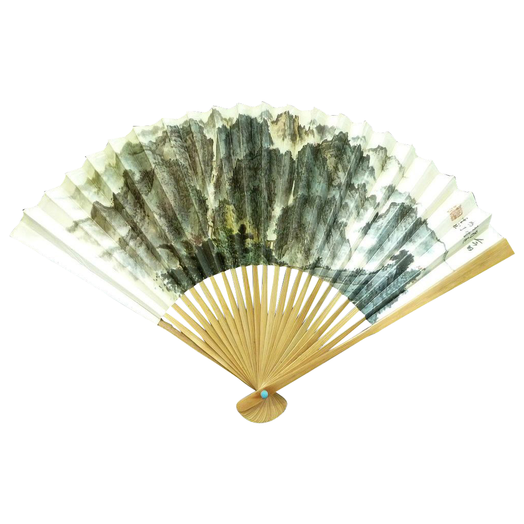 China Airlines Folding Hand Fan Circa 1980's &ndash; Mountains & Hills